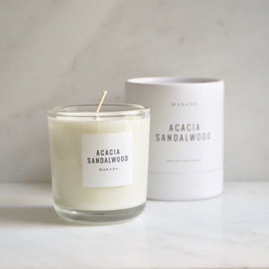 By Makana Candles. Acacia Sandlewood Candle: A composition of sultry sandalwood, oud and acacia, ever so softened by warmed vanilla and tonka. Hand-poured in-house in small batches using simple, clean ingredients – 100% soy wax, lead-free cotton wicking, and phthalate-free fragrances blended with pure essential oils.