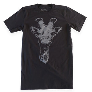 "By Max Nuetra. At first glance, this may look like a simple giraffe shirt, but look again and you may notice the expression that I meticulously honed on its face. This is more than just a giraffe shirt. The giraffe is an ambassador of a certain vibe. An easy going acknowledgment. ""Hello there."" I see you too, and it's all groovy. A more subtle grey ink, custom labeling inside the collar, and a coy little bunny on the back of the neck raise the game for this unique piece of apparel."