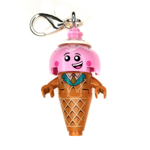 By Miss Brixx. Lego® Ice Cream Cone Keychain. Silver color Lobster Clasp connectors. Lego figure measures approximately 2cm x 4cm.