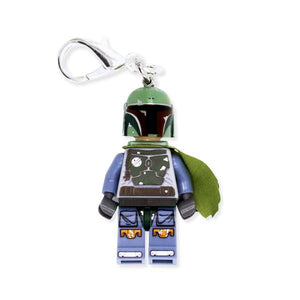By Miss Brixx. Lego® Minifigure Star Wars Boba Fett Keychain. Silver color Lobster Clasp connectors. Lego figure measures approx. 2cm x 4cm.