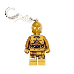 By Miss Brixx. Lego® Minifigure Star Wars C3PO Keychain. Silver color Lobster Clasp connectors. Lego figure measures approximately 2cm x 4cm. Also available in store at FOLD Gallery in DTLA.
