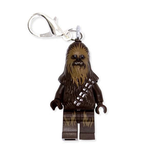 By Miss Brixx. Lego® Minifigure Star Wars Chewbacca Keychain. Silver color Lobster Clasp connectors. Lego figure measures approx. 2cm x 4cm. Also available in store at FOLD Gallery in DTLA.