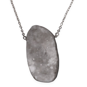 "by Mouré Designs. Oracle Talisman Druzy Sterling Silver Necklace details: Ocean Jasper druzy hung on an 18"" Sterling Silver chain. Ocean Jasper is amazing for stress relief. It helps one to see the positive and release negativity. Wear this one of a kind piece to lift your spirits and soothe your soul."