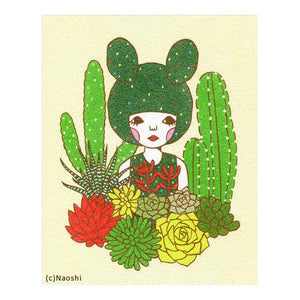 By Naoshi. This Cactus Girl Art Print is a scanned and resized version of SUNAE (sand art). Printed on Fine Art Paper (270g/㎡). It has a backing board and individually wrapped in a clear plastic sleeve. Measures 8 × 10 inches. Also available in store at FOLD Gallery in DTLA.