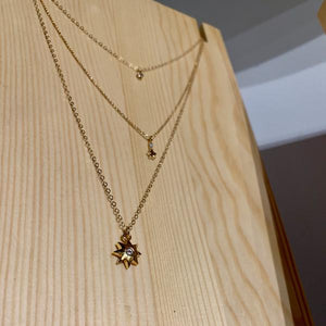 By Hari and Jin. The North Star Gold Filled Necklace features an 18k gold filled star pendant with cubic zirconia on a 14k gold filled chain. Looks great on its own or as a layered piece. Necklace measures 16 inches plus 2 inch extender (18 inches total). Also available in store at FOLD Gallery DTLA.