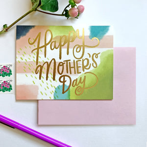 By Paper Parasol Press Painterly Mother's Day Card details: A2 Size, offset printed with foil, blank interior, comes with a light magenta envelope, printed in the USA. Please note that due to everyone's monitor displaying differently, the colors you see may vary.