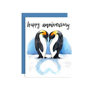 By Paper Wilderness. Anniversary Penguins Card features adorable penguins' shadows that are in love! Perfect to give to your own mate for life or that super cute couple.
