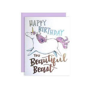 By Paper Wilderness. This fabulous Beautiful Beast Birthday Card is ready to wish the recipient a great one with holographic glitter foil hand lettered text. Original watercolor illustration printed on 110 lb. premium bright white cover paper. Holographic glitter foil text. Blank inside. 4.25 x 5.5 inches. FOLD Gallery Dtla.