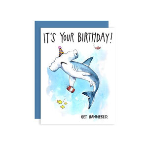 By Paper Wilderness. Tell that friend, family member, significant other, or whomever to let loose and have a few (or many) drinks for their birthday! This hammerhead shark has his hat on and is ready to party! Hammered Birthday Card: Original watercolor illustration printed on 100 lb. premium cover bristol paper.