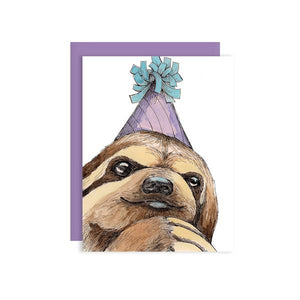 By Paper Wilderness. Party Sloth Card.Sloths love hanging out, bring this guy to the next birthday, special event, or any celebratory occasion! Original watercolor illustration printed on 100 lb. premium cover bristol paper. Blank inside for your message. Comes with a purple paper envelope. Measures 4.25 x 5.5 inches. Also available in store at FOLD Gallery DTLA.
