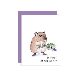 By Paper Wilderness. Sympathy Mouse Card. Original watercolor illustration printed on 110 lb. premium bright white cover paper. Blank inside for your message. Comes with a purple paper envelope in a protective cellophane sleeve. Measures 4.25 x 5.5 inches. Also available in store at FOLD Gallery DTLA.