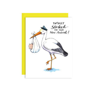 By Paper Wilderness. Totally Storked Card. Tell them how stoked you are for their new baby with this cute stork and his little bundle! Original watercolor illustration printed on 100 lb. premium bright white cover paper. Blank inside for your message. Comes with a yellow paper envelope in a protective cellophane sleeve. Also available in store at FOLD Gallery DTLA.