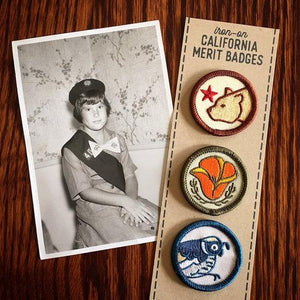 By Poppy & Quail. Set of three iron-on embroidered CA Merit Badge Patches featuring California designs. Each patch measures 1.25 inches. Also available in store at FOLD Gallery in DTLA.