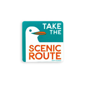 By Poppy & Quail. Scenic Route Seagull Sticker. Matte vinyl stickers celebrating classic California road signs. Measures 3 inches. Also available in store at FOLD Gallery DTLA.