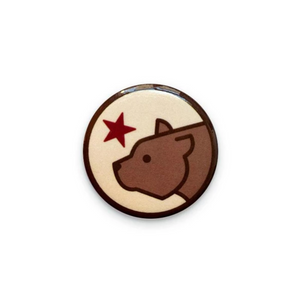By Poppy and Quail. Add a little flair to your jacket, backpack or tote with this pinback Cali Bear Button! Measures 1.25 inches. FOLD Gallery Dtla.