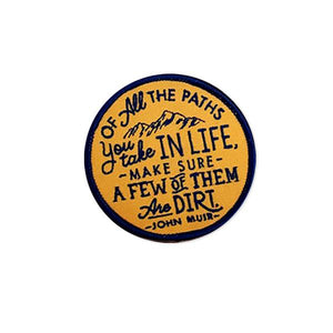 By Poppy & Quail. Iron-on Dirt Paths Patch. Measures approximately 3 x 3 inches.