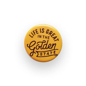 By Poppy and Quail. Add a little flair to your jacket, backpack or tote with this Golden State Button! Measures 1.25 inches