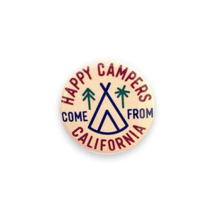 By Poppy and Quail. Add a little flair to your jacket, backpack or tote with this Happy Campers Button! Measures 1.25 inches