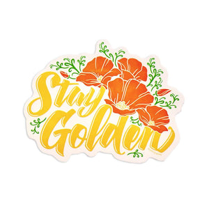 By Poppy & Quail. Stay Golden, friends! Waterproof vinyl Stay Golden Sticker with clear background. Please note that due to everyone's monitor displaying differently, the colors you see may vary. Measures 5.15 x 4.18 inches