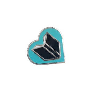 by Rather Keen. Silver-colored metal Book Lover Pin in turquoise/black enamel. Cloisonne hard enamel pin. Black rubber clasp. Measures 3/4 inches. Also available in store at FOLD Gallery.