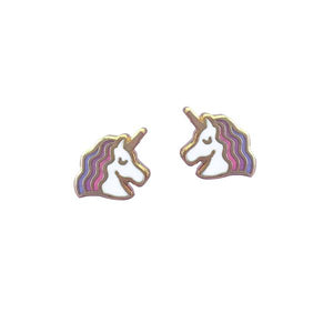 By Rather Keen. Unicorn Stud Earrings. 22k gold plated earrings. Nickel-Free! Measures 11 mm wide. Also available in store at FOLD Gallery DTLA.