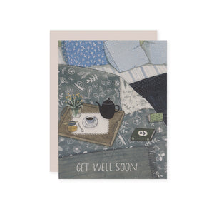 by Red Cap Cards. In Bed Get Well Card details: 100lb heavyweight card stock. Offset printed. 4.25 x 5.5 inches. Please note that due to everyone's monitor displaying differently, the colors you see may vary.