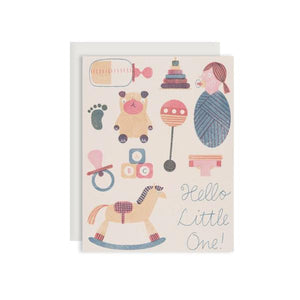 By Red Cap Cards. Baby Things Card features 100lb Heavyweight Cardstock. Offset Printed. Illustrated by Barbara Dziadosz. Please note that due to everyone's monitor displaying differently, the colors you see may vary. Measures 4.25 x 5.5 inches