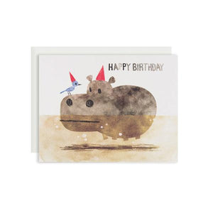By Red Cap Cards. Bird and Hippo Birthday Card features: 100lb Heavyweight Cardstock, Offset Printed and Illustrated by Chris Sasaki. Please note that due to everyone's monitor displaying differently, the colors you see may vary. Measures 4.25 x 5.5 inches.