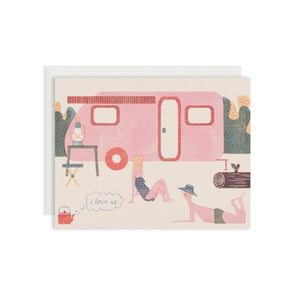 By Red Cap Cards. Caravan Love Card features: 100lb Heavyweight Cardstock. Offset Printed. Illustrated by Barbara Dziadosz. Measures 4.25 x 5.5 inches. Also available in store at FOLD Gallery in DTLA.