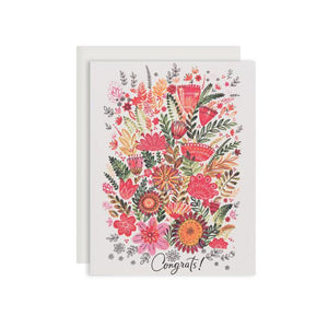 By Red Cap Cards. Colorful Flower Congrats Card. 100lb Heavyweight Cardstock Offset Printed Illustrated by Dinara Mirtalipova Please note that due to everyone's monitor displaying differently, the colors you see may vary. Measures 4.25 x 5.5 inches