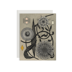 By Red Cap Cards. Floral Geometry Everyday Card. 100lb Heavyweight Cardstock. Offset Printed. Illustrated by Marsha Robinson. Please note that due to everyone's monitor displaying differently, the colors you see may vary. Measures 4.25 x 5.5 inches.