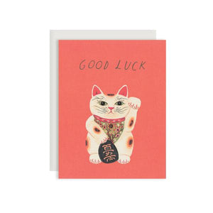 By Red Cap Cards. Good Luck Kitty Card: 100lb Heavyweight Cardstock. Offset Printed. Illustrated by Becca Stadtlander. Measures 4.25 x 5.5 inches.