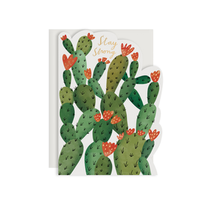 By Red Cap Cards. Stay Strong Cactus Card. Die-cut greeting card is printed on 100lb heavyweight cardstock with foil detail. Blank inside for a personal message. Illustrated by Bodil Jane. Please note that due to everyone's monitor displaying differently, the colors you see may vary. Measures 5x7 inches.
