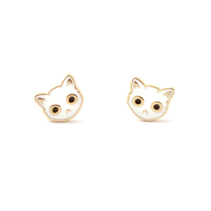 By SHOAL. Now you can wear grouchy cats on your ears whenever you want! White Enamel Cat Face Stud Earrings. Metal composition: 22k gold-plated brass, nickel-free 8mm (5/16 inch) width. 22k gold-plated earring backs. Packaged in a cute keepsake box, perfect for gift-giving! FOLD Gallery Dtla.