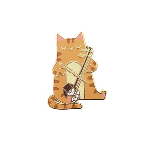 By Shoal. Hard enamel Er Hu Cat Pin with shiny gold metal finish. Comes with double pin posts and two rubber clutch backs. Measures 1.38 inches tall.