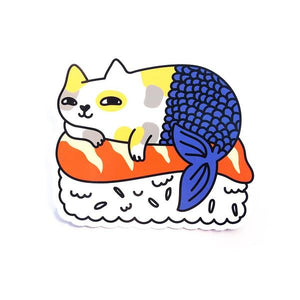 By Shoal. Mercat Sushi Sticker. Made of durable vinyl with a protective coating. Withstands UV and is waterproof. Measures 4 inches on its longest side. Also available in store at FOLD Gallery DTLA.