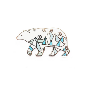 "by SHOAL. One hard enamel Polar Bear Pin. Shiny silver metal finish. One rubber pin back. ""Natelle Draws Stuff"" stamped on reverse Measures 1.25-inch (32mm). Also available in store at FOLD Gallery DTLA."