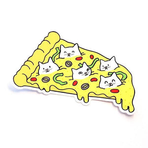 By Shoal. The Pizza Cats Sticker is made of durable vinyl with a protective coating. Withstands UV and is waterproof. Measures 4 inches on its longest side. Also available in store at FOLD Gallery DTLA.