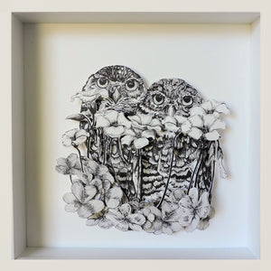 Burrowing Owls + Clover. Original Artwork by Simonette Jackson. It Measures 10 x 10 x 2 inches.