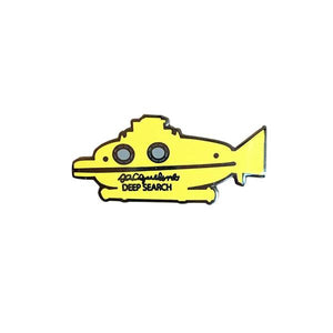 By Sleepy Mountain. Inspired by Wes Anderson's The Life Aquatic with Steve Zissou Submarine. Enamel Deep Search Pin comes with rubber clutch. Measures about 1.5 inches wide.