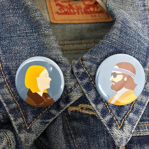 By Sleepy Mountain. Margot & Richie Button Set. Each badge was individually pressed using a professional button maker. They were printed using archival inks onto high quality paper. Measures 1.25 inches (3.17 cm). Also available in store at FOLD Gallery DTLA.
