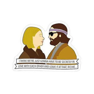 "By Sleepy Mountain. This listing is for one (1) Margot & Richie Sticker. ""I think we're just gonna have to be secretly in love with each other and leave it at that, Richie..."" - Margot Tenenbaum, The Royal Tenenbaums. Sticker: glossy coated vinyl. Measures 2.7 x 2 inches. Also available in store at FOLD Gallery DTLA."