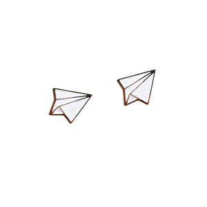 By Sleepy Mountain. Enamel Paper Airplane Earrings are 22k gold plated stainless steel. Includes butterfly backings as well as nylon stops. Measures 0.5 inches. Also available in store at FOLD Gallery DTLA.