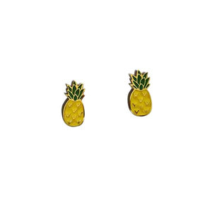 By Sleepy Mountain. Pineapple Earrings: Enamel color earrings are 22k gold plated stainless steel Includes butterfly backings as well as nylon stops. For long lasting earrings, keep them dry, do not wear them in the shower. Measures 0.5 inches. Also available in store at FOLD Gallery DTLA.