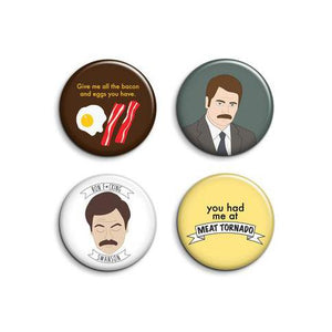By Sleepy Mountain. Ron Swanson Button Set. Set of 4 Ron Swanson (from Parks and Recreation) pinback buttons. Individually pressed using a professional button maker. Printed using archival inks onto high quality paper. Each badge measures 1.25 inches (3.17 cm). Also available in store at FOLD Gallery DTLA.