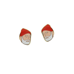 By Sleepy Mountain. Enamel color Steve Zissou Earrings are 22k gold plated stainless steel. Includes butterfly backings as well as nylon stops. Please note that due to everyone's monitor displaying differently, the colors you see may vary. Measures 0.5 inches.