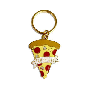 By Sleepy Mountain. True Love Pizza Keychain. Pizza measures 1.5 inches tall. Also available in store at FOLD Gallery DTLA.