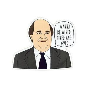 "By Sleepy Mountain. Wined, Dined and 69'd Sticker. ""I wanna be wined dined and sixty-nined"" - Kevin Malone, The Office. This listing is for one (1) sticker. Sticker is glossy coated vinyl. Measures 2.5 inches. FOLD Gallery Dtla."