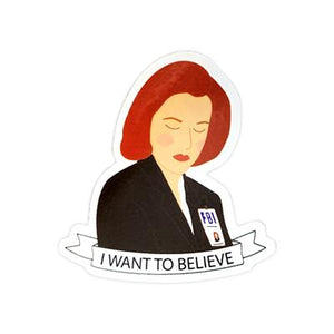 By Sleepy Mountain. X-Files Dana Scully Sticker. This listing is for one (1) glossy coated vinyl sticker. Measures 2.4 x 2.3 inches. FOLD Gallery Dtla.
