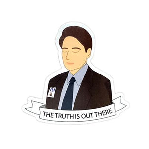 By Sleepy Mountain. X-Files Fox Mulder Sticker. This listing is for one (1) glossy coated vinyl sticker. Measures 2.4 x 2.3 inches. FOLD Gallery Dtla.